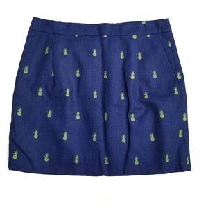 NEW J. Crew navy skirt pineapple print 8